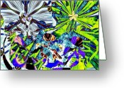Abstract Flower Greeting Cards - Siesta Under Flowers Greeting Card by Navo Art