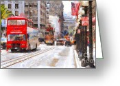 Trolley Greeting Cards - Sightseeing Along Powell Street In San Francisco California . 7D7269 Greeting Card by Wingsdomain Art and Photography