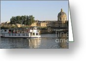 Sight Seeing Greeting Cards - Sightseeing boat on river Seine. Paris Greeting Card by Bernard Jaubert