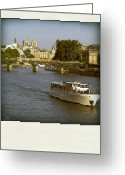 Ile De France Greeting Cards - Sightseeings on the river Seine in Paris Greeting Card by Bernard Jaubert