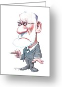 Freud Greeting Cards - Sigmund Freud, Caricature Greeting Card by Gary Brown