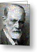 Freud Greeting Cards - Sigmund Freud Mosaic Greeting Card by Paul Van Scott