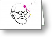 Freud Greeting Cards - Sigmund Freund, Austrian Psychologist Greeting Card by Smetek