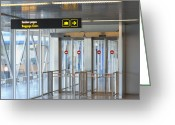 Airport Concourse Greeting Cards - Sign Leading to Baggage Claim Greeting Card by Jaak Nilson