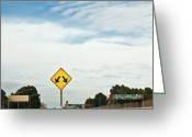 Horizontal Lines Greeting Cards - Sign Showing Fork in the Highway Greeting Card by Eddy Joaquim