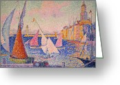 Turn Of The Century Greeting Cards - Signac: St. Tropez Harbor Greeting Card by Granger