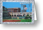 Lance Berkman Greeting Cards - Signed Minute Maid Greeting Card by Leo Artist
