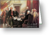 July 4th 1776 Greeting Cards - Signing Of The Declaration Greeting Card by Photo Researchers