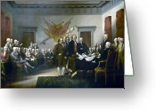 Independence Hall Greeting Cards - Signing The Declaration Of Independance Greeting Card by War Is Hell Store