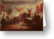 Men Greeting Cards - Signing the Declaration of Independence Greeting Card by John Trumbull