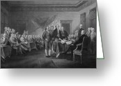 Patriot Mixed Media Greeting Cards - Signing The Declaration of Independence Greeting Card by War Is Hell Store
