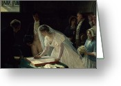Veil Greeting Cards - Signing the Register Greeting Card by Edmund Blair Leighton