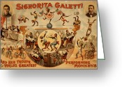 Tightrope Greeting Cards - Signorita Galetti and Her Troupe Of Performing Monkeys Greeting Card by Marcie Adams Eastmans Studio Photography