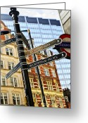 United Kingdom Greeting Cards - Signpost in London Greeting Card by Elena Elisseeva