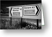 Northern Ireland Greeting Cards - Signposts For The Causeway Coastal Route At Carnlough Between Cushendall And Glenarm County Antrim Greeting Card by Joe Fox