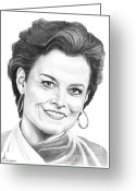 Famous People Drawings Greeting Cards - Sigourney Weaver Greeting Card by Murphy Elliott
