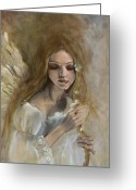 Angel Painting Greeting Cards - Silence Greeting Card by Dorina  Costras