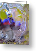 Mood Glass Art Greeting Cards - Silent Birds Greeting Card by Etti Palitz
