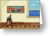 Art On Wall Greeting Cards - Silent Canvas Greeting Card by Anne Klar
