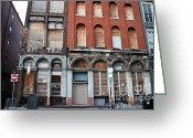 Store Fronts Greeting Cards - Silent City Store Fronts Greeting Card by Extrospection Art