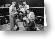 Glove Greeting Cards - Silent Film Still: Boxing Greeting Card by Granger