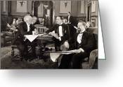 Tuxedo Greeting Cards - Silent Film Still: Club Greeting Card by Granger