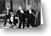 Bowtie Greeting Cards - Silent Film Still: Gaming Greeting Card by Granger