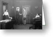 Handshake Greeting Cards - Silent Film Still: Office Greeting Card by Granger