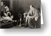 Hookah Greeting Cards - Silent Film Still: Smoking Greeting Card by Granger