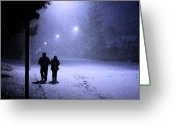 Flurries Greeting Cards - Silent Night Greeting Card by Barbara  White