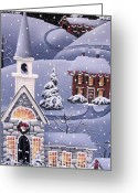 Covered Bridge Painting Greeting Cards - Silent Night Greeting Card by Catherine Holman