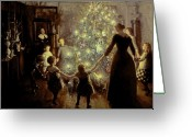Children Greeting Cards - Silent Night Greeting Card by Viggo Johansen