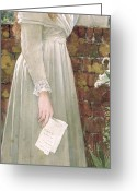 White Dress Greeting Cards - Silent Sorrow Greeting Card by Walter Langley