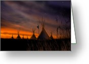 Native American Indians Greeting Cards - Silent Teepees Greeting Card by Paul Sachtleben