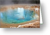 Smoke Greeting Cards - Silex Spring Fountain Paint Pot Yellowstone National Park WY Greeting Card by Christine Till