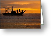 Huahin Greeting Cards - Silhouette Fisherman Boat Sunset Huahin Thailand Greeting Card by Arthit Somsakul