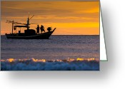 Huahin Greeting Cards - Silhouette fisherman on boat in sunset huahin Greeting Card by Arthit Somsakul
