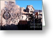 Wind Chimes Greeting Cards - Silhouette in Santa Fe Greeting Card by Bob and Nancy Kendrick