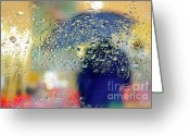 Colours Greeting Cards - Silhouette in the Rain Greeting Card by Carlos Caetano