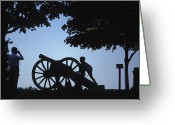 Inspiration Point Greeting Cards - Silhouette Of A Boy And His Father Greeting Card by Richard Nowitz