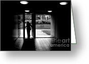 Exit Greeting Cards - Silhouette of a man Greeting Card by Fabrizio Troiani