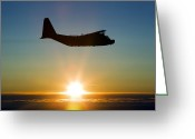 Kc Greeting Cards - Silhouette Of A Mc-130h Combat Talon Greeting Card by Gert Kromhout