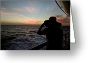 Cruise Ships Greeting Cards - Silhouette Of A Woman On A Cruise Ship Greeting Card by Todd Gipstein