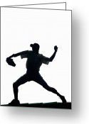 Baseball Cap Greeting Cards - Silhouette Of Baseball Pitcher About To Pitch Greeting Card by PM Images