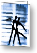 Dancers Greeting Cards - Silhouette Of Dancers Greeting Card by David Ridley
