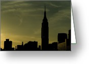Building Tapestries Textiles Greeting Cards - Silhouette Of Empire State Building Greeting Card by Todd Gipstein