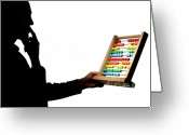 Contemplation Greeting Cards - Silhouette of man holding abacus Greeting Card by Sami Sarkis