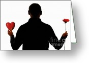 Holding Flower Greeting Cards - Silhouette of man holding heart and rose Greeting Card by Sami Sarkis