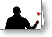 Holding Flower Greeting Cards - Silhouette of man holding rose Greeting Card by Sami Sarkis
