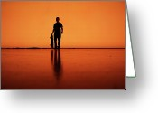 One Person Photo Greeting Cards - Silhouette Of Man With Skateboard, Berlin Greeting Card by Atomare Aufruestung